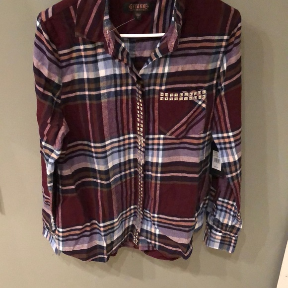 shyanne Tops - Shyanne Studded Plaid Top